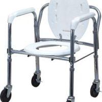 Silla Inodoro Plegable con ruedas, Seguro y Cómoda
