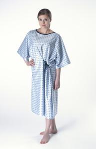 Bata De Paciente Camisón. Cierre por cintas en cuello y cintura.