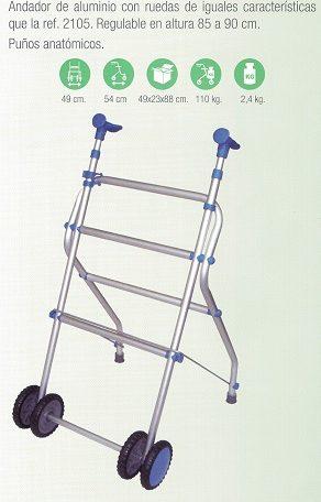 Andador De Aluminio Plegable Con Ruedas