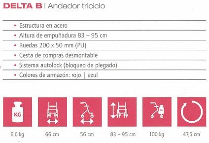 datos técnicos andador B&B Iberia