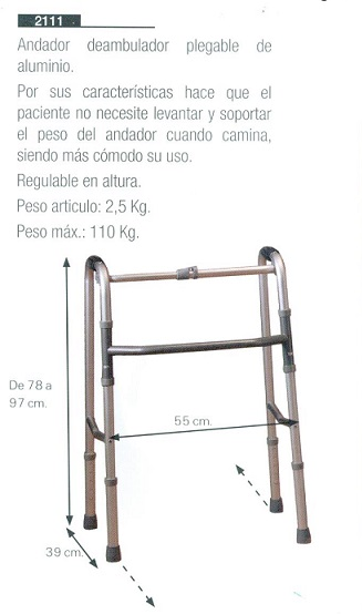 Andador Deambulador Plegable De Aluminio