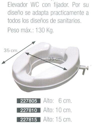 Elevador WC Con O Sin Tapa. MEDIDAS: 6, 10 ó 15 cm. Fijador en su adaptación.