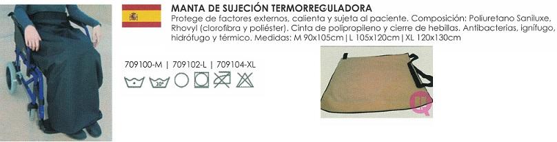 Manta Termorreguladora SANILUXE Tallas M, L, XL. Protegerse del frío, viento y humedad.