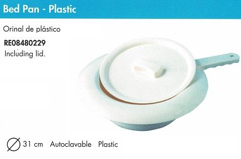 Orinal de Plástico. Cuña de plástico con tapa