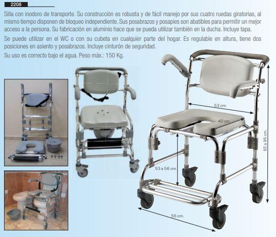 silla con inodoro de transporte y ducha