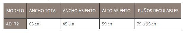 tabla medidas TAIMA M-ECO
