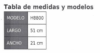tabla de medidas dispositivo de trannsferemcias