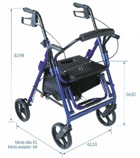 Andador Y Silla R9. 2 en 1 silla de ruedas y el andador. Maniobrabilidad en domicilios.