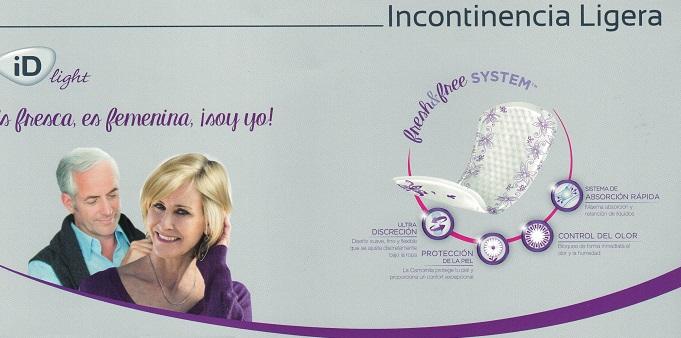 Compresas Incontinencia. iD LIGHT Fresh & Free. Pequeñas pérdidas de orina.