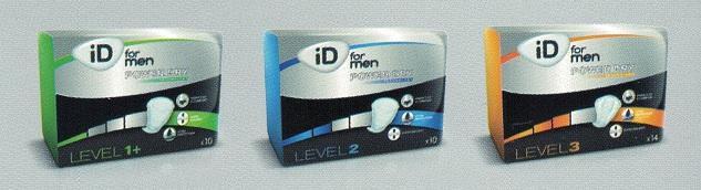 Compresas Masculina: Absorbentes Masculino Levels 1+, 2, 3. Adaptado a la anatomía masculina.
