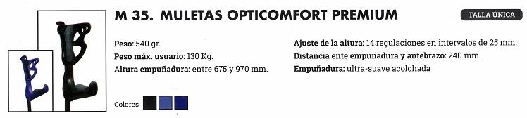 Muletas OPTICOMFORT PREMIUM FDI. PAR o UD. Empuñadura ultra-suave.