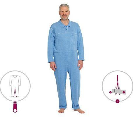 Prenda para dormir para incontinencia UNISEX. Con fácil acceso a pañales.