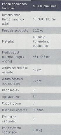 Especificaciones Técnicas silla ducha