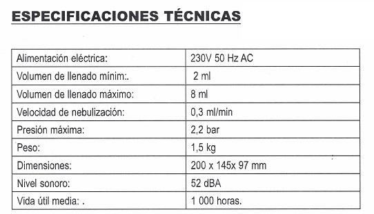 Especificaciones Compresor Nebulizador