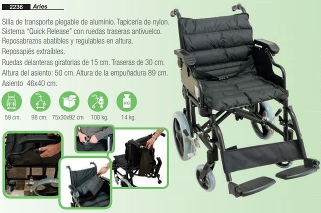Silla De Ruedas De Transporte Aluminio