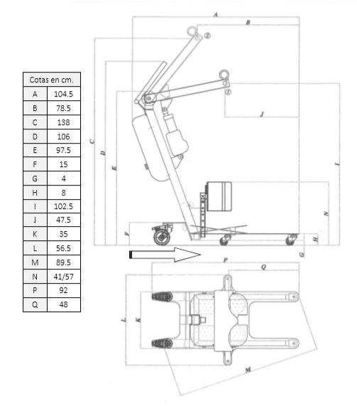 dimensiones de la grúa powerlift up II